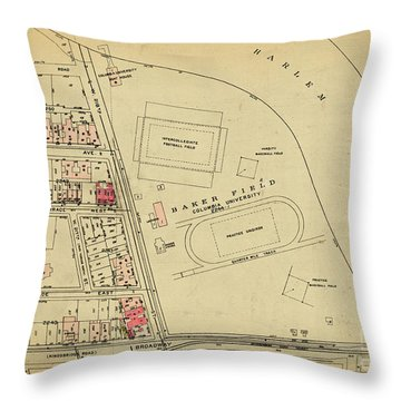 Throw Pillow featuring the photograph 1927 Baker Field Map  by Cole Thompson