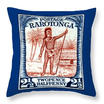 Throw Pillow featuring the painting 1927 Cook Island Rarotongan Chief Stamp by Historic Image