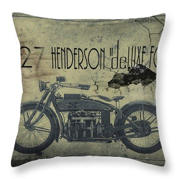 1927 Henderson Vintage Motorcycle Throw Pillow