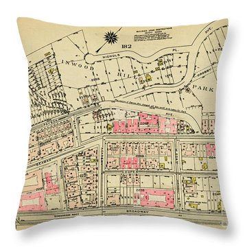 Throw Pillow featuring the photograph 1927 Inwood Map  by Cole Thompson