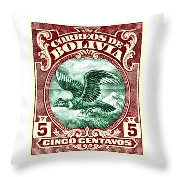 1928 Bolivia Andean Condor Postage Stamp Throw Pillow