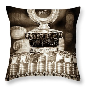 Throw Pillow featuring the photograph 1928 Daimler Hood Ornament - Moto Meter -0616s by Jill Reger