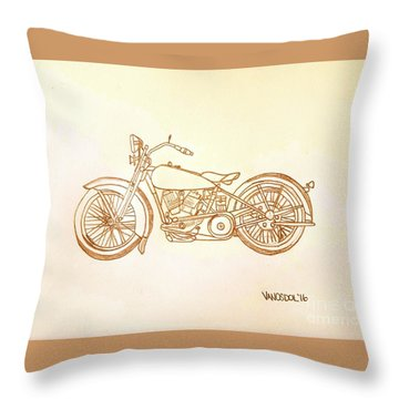 1928 Harley Davidson Motorcycle Graphite Pencil - Sepia Throw Pillow