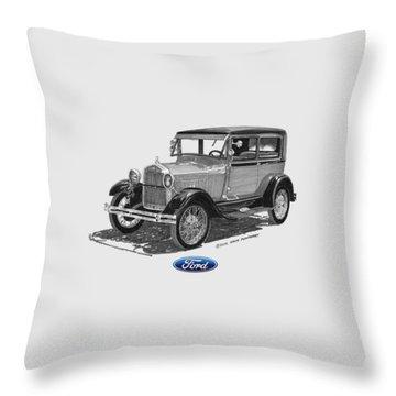 Model A Ford 2 Door Sedan Throw Pillow by Jack Pumphrey