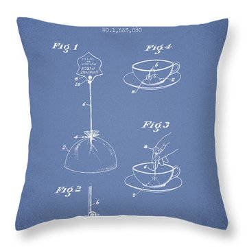 1928 Tea Bag Patent - Light Blue Throw Pillow