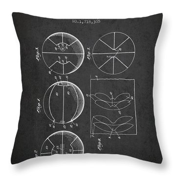 1929 Basket Ball Patent - Charcoal Throw Pillow