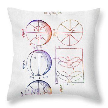1929 Basket Ball Patent - Color Throw Pillow