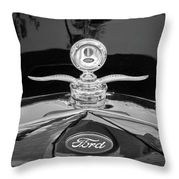 1929 Ford Model A Hood Ornament Bw Throw Pillow by Rich Franco