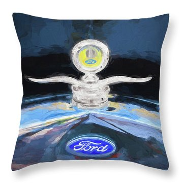 1929 Ford Model A Hood Ornament Painted Throw Pillow by Rich Franco