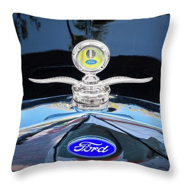 Throw Pillow featuring the photograph 1929 Ford Model A Hood Ornament  by Rich Franco