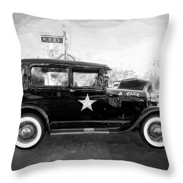1929 Ford Model A Tudor Police Sedan Bw Throw Pillow by Rich Franco