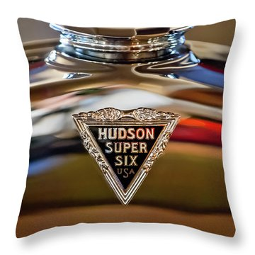 1929 Hudson Cabriolet Hood Ornament Throw Pillow by Jill Reger