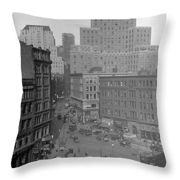 Throw Pillow featuring the photograph 1929 Summer Street In Dock Square Boston by Historic Image