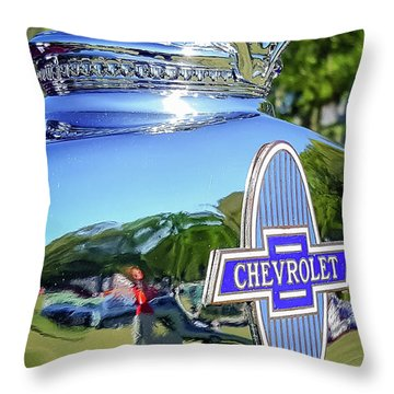 1930 Chevrolet Ad Hood Ornament Throw Pillow