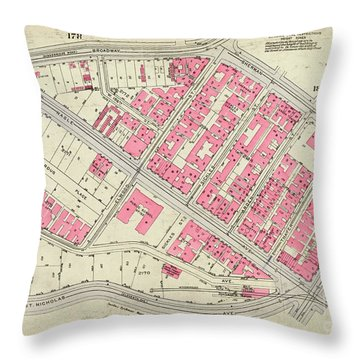 1930 Inwood Map  Throw Pillow by Cole Thompson