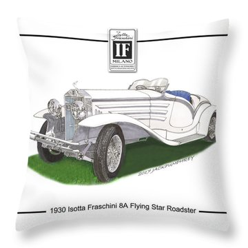 1930 Isotta Fraschini 8a Flying Star Roadster Throw Pillow by Jack Pumphrey