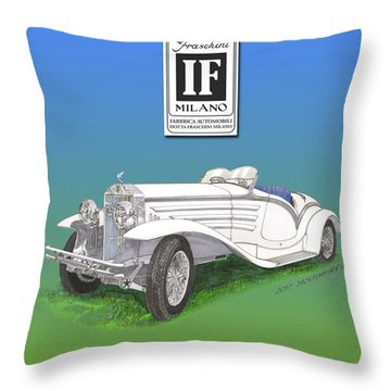 1930 Isotta Fraschini Tippo 8 A Flying Star Roadster Throw Pillow by Jack Pumphrey