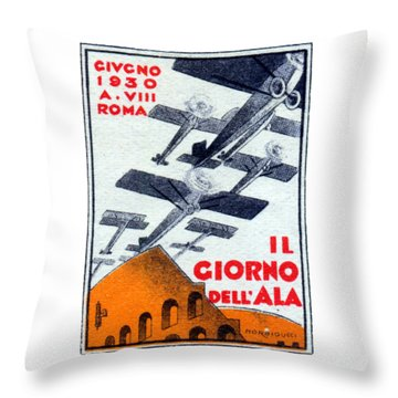 Throw Pillow featuring the painting 1930 Italian Air Show by Historic Image