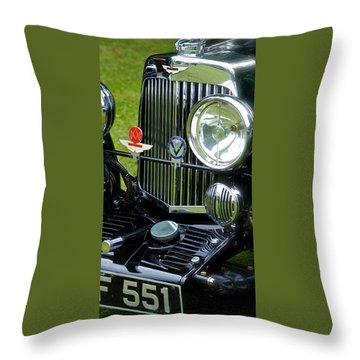 1930s Aston Martin Front Grille Detail Throw Pillow by John Colley