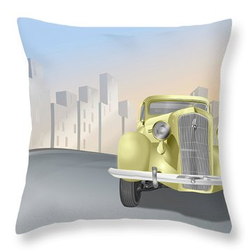 1930's Plymouth Sedan Throw Pillow by Marty Garland