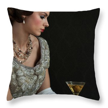 1930s Woman With A Cocktail Glass Throw Pillow