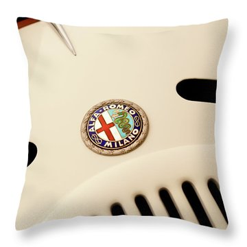 1931 Alfa Romeo 6c 1750 Gran Sport Aprile Spider Corsa Hood Emblem Throw Pillow by Jill Reger