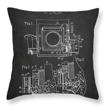 1931 Camera Patent - Charcoal Throw Pillow