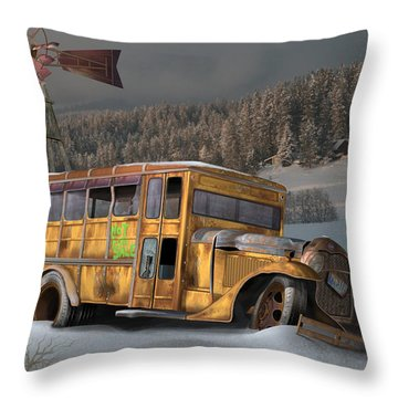 Throw Pillow featuring the digital art 1931 Ford School Bus by Stuart Swartz