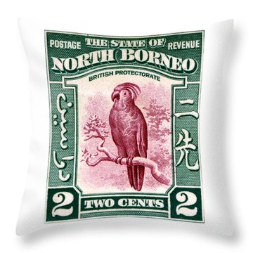 1931 North Borneo Palm Cockatoo Stamp Throw Pillow by Historic Image
