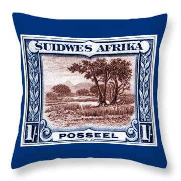 Throw Pillow featuring the painting 1931 South West African Landscape Stamp by Historic Image