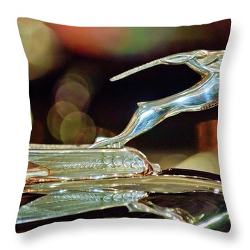 1932 Chrysler Imperial Hood Ornament 1 Throw Pillow by Jill Reger