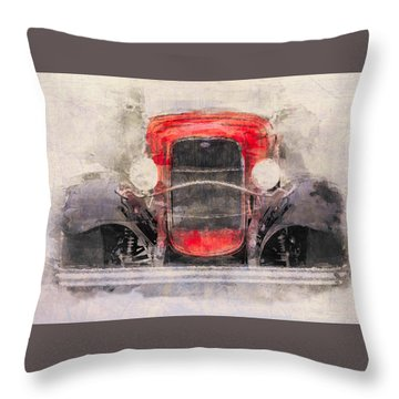 1932 Ford Roadster Red And Black Throw Pillow