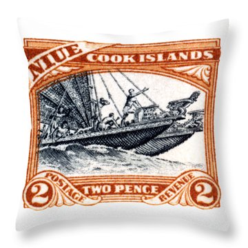 Throw Pillow featuring the painting 1932 Niue Island Stamp by Historic Image