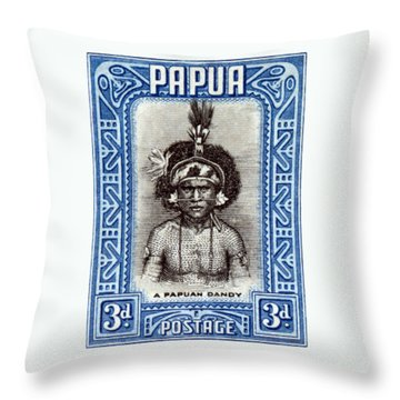 1932 Papuan Dandy Stamp Throw Pillow by Historic Image