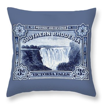Throw Pillow featuring the painting 1932 Southern Rhodesia Victoria Falls Stamp by Historic Image
