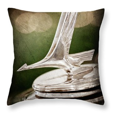 Throw Pillow featuring the photograph 1932 Studebaker Dictator Hood Ornament -0850ac by Jill Reger