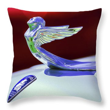 Throw Pillow featuring the photograph 1933 Plymouth Hood Ornament -0121rc by Jill Reger