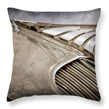 Throw Pillow featuring the photograph 1934 Desoto Airflow Coupe Hood Ornament -2404ac by Jill Reger