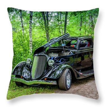 1934 Ford 3 Window Coupe Throw Pillow by Ken Morris