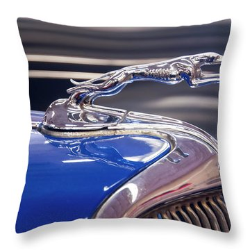 Throw Pillow featuring the digital art 1934  Ford Greyhound Hood Ornament by Chris Flees