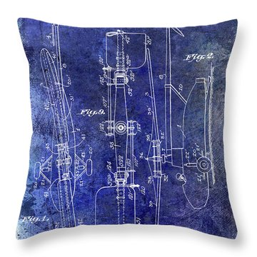 1935 Helicopter Patent Blue Throw Pillow by Jon Neidert