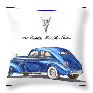 Throw Pillow featuring the painting 1936 Cadillac V-16 Aero Coupe by Jack Pumphrey