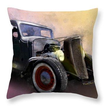1936 Chevy Rat Rod Pickup Watercolour Throw Pillow