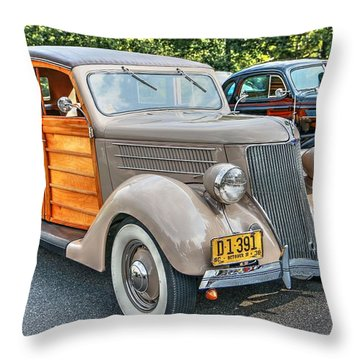 1936 Ford V8 Woody Station Wagon Throw Pillow