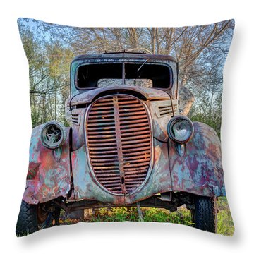 1936 Model 511 1/2 Ton Stakebed Farm Truck Near Charlevoix, Mic Throw Pillow by Peter Ciro