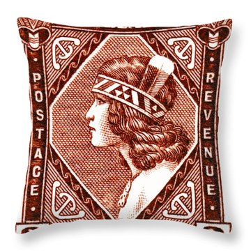 1936 New Zealand Maori Girl Postage Stamp Throw Pillow