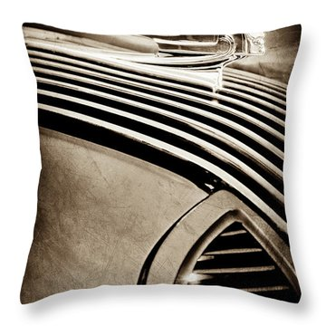 Throw Pillow featuring the photograph 1936 Pontiac Hood Ornament -1140s by Jill Reger