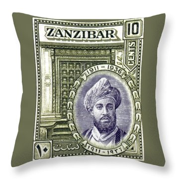 Throw Pillow featuring the painting 1936 Sultan Of Zanzibar Stamp by Historic Image