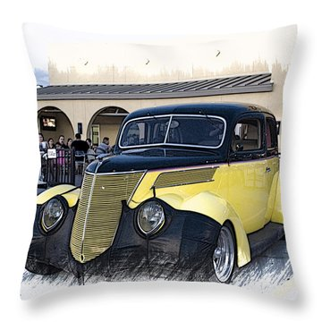 1937 Ford Deluxe Sedan_a2 Throw Pillow