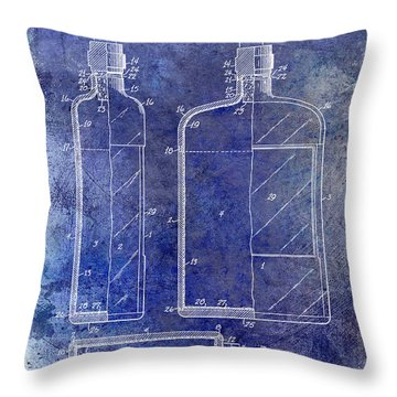 1937 Liquor Bottle Patent Blue Throw Pillow